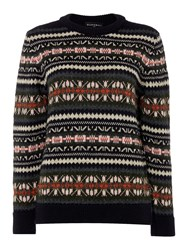 Gloverall Fair Isle Crew Neck Jumper Blue