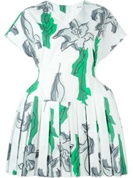 Julien David Floral Print Pleated Skater Dress White