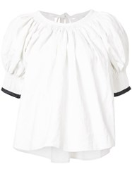 Christophe Lemaire Satin Trim Top Women Linen Flax Acrylic 34 White