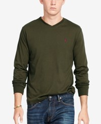 Polo Ralph Lauren Men's V Neck Long Sleeve Shirt Defender Green