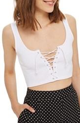 Topshop Women's Lace Up Bralette White