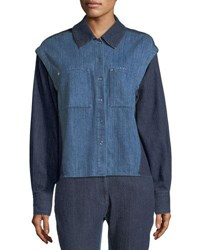 Public School Quasay Snap Sleeves Two Tone Denim Shirt Indigo