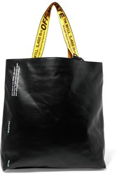 Off White Printed Leather Tote Black
