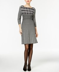 Ny Collection Printed Fit And Flare Sweater Dress Black Grey White