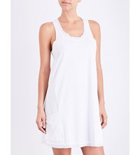 Skin Gauze Trim Cotton Jersey Chemise White