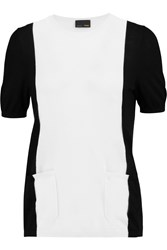 Fendi Two Tone Cashmere Top White