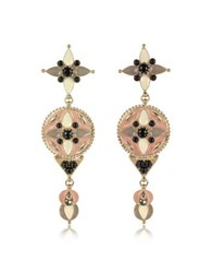 Roberto Cavalli Gold Tone And Enamel W Multicolor Crystals Long Earrings