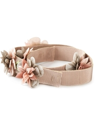Alberta Ferretti Flower Applique Belt Nude And Neutrals