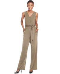 Ny Collection Petite Surplice Belted Wide Leg Jumpsuit Nice Olive