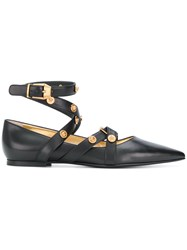 Versace Badges Flat Ballerina Shoes Black