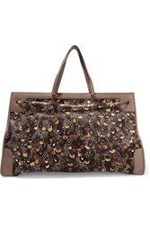 Valentino Leather And Python Trimmed Printed Calf Hair Shoulder Bag Multi