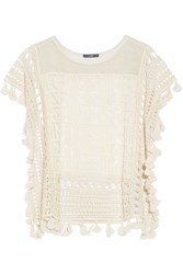 Tart Collections Caris Metallic Crochet Knit Top White