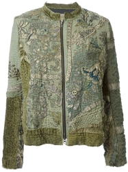 By Walid Embroidered Bomber Jacket Green