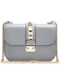 Valentino Lock Small Leather Shoulder Bag Grey
