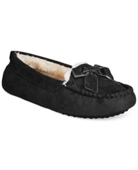 Charter Club Faux Fur Moccasin Slippers With Memory Foam Only At Macy's Black
