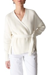 Whistles Tie Front Cotton Cardigan Ivory