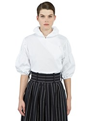 J.W.Anderson Ruched Sleeve Fan Collared Blouse White