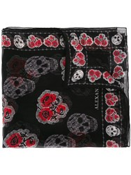 Alexander Mcqueen Skull And Rose Print Scarf Black