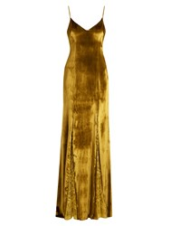 Galvan V Neck Lace Panelled Velvet Gown Yellow Gold
