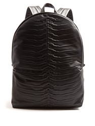 Alexander Mcqueen Ribcage Embossed Leather Backpack Black Multi