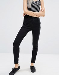 Weekday Body Super High Waist Skinny Crop Satin Jeans Black