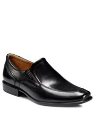 Ecco Cairo Leather Apron Toe Slip On Loafers Black