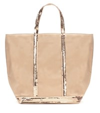 Vanessa Bruno Sequinned Canvas Tote Bag Beige