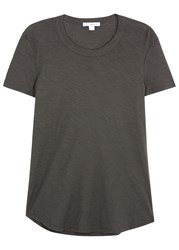 James Perse Charcoal Slubbed Cotton T Shirt Grey
