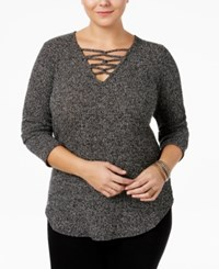 Ing Trendy Plus Size Lace Up Sweater Black White