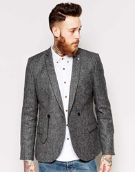 Noose And Monkey Tweed Double Breasted Blazer With Chain In Skinny Fit Grey