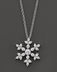 Bloomingdale's Diamond Snowflake Pendant Necklace In 14 Kt. White Gold