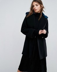 Helene Berman Yummy Coat With Faux Fur Leopard Collar Black Blue