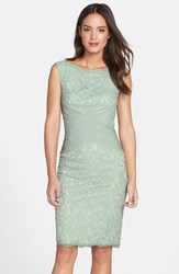 Petite Women's Tadashi Shoji Crisscross Waist Lace Sheath Dress Mint