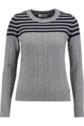 Tory Burch Sharlene Ribbed Cable Knit Sweater Gray