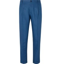 Dolce And Gabbana Slim Fit Tapered Pleated Linen Trousers Blue