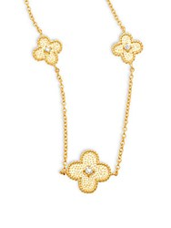 Freida Rothman Classic Cz And 14K Gold Plated Sterling Silver Clover Station Short Necklace