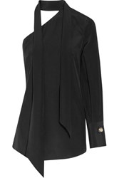 By Malene Birger Rinula One Shoulder Silk Crepe De Chine Top Black