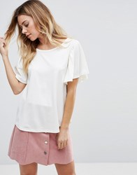 Vila T Shirt With Frill Sleeve Snow White