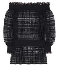 Alexander Mcqueen Silk And Cotton Lace Top Black