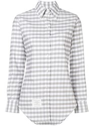 Thom Browne Gingham Check Classic Oxford Shirt Grey