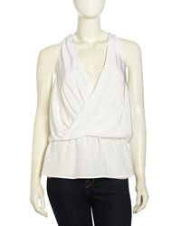 Madison Marcus Layered Surplice Silk Tank White