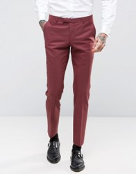 Noose And Monkey Super Skinny Suit Trousers Dark Rose Red