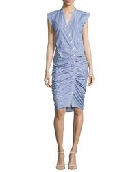 Veronica Beard Sleeveless Ruched Striped Shirtdress Blue White Blue White