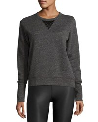 Alo Yoga Downtown Mesh Panel Long Sleeve Sport Pullover Gray