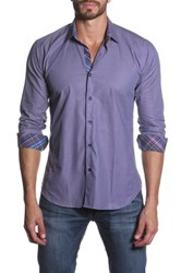 Jared Lang Long Sleeve Contrast Trim Semi Fitted Shirt Purple