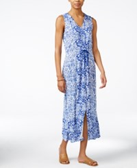 Lucky Brand V Neck Printed Maxi Dress Blue