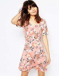Asos Skater Dress With Ruffle Detail In Pretty Floral Print Multi