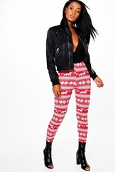 Boohoo Christmas Fairisle Print Leggings Red