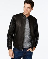 Inc International Concepts Baldwin Embossed Faux Leather Bomber Jacket Only At Macy's Black