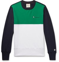 Todd Snyder Champion Logo Embroidered Colour Block Loopback Cotton Jersey Sweatshirt Green
